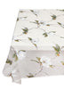 french linen square organza throw with magnolia design in white/green