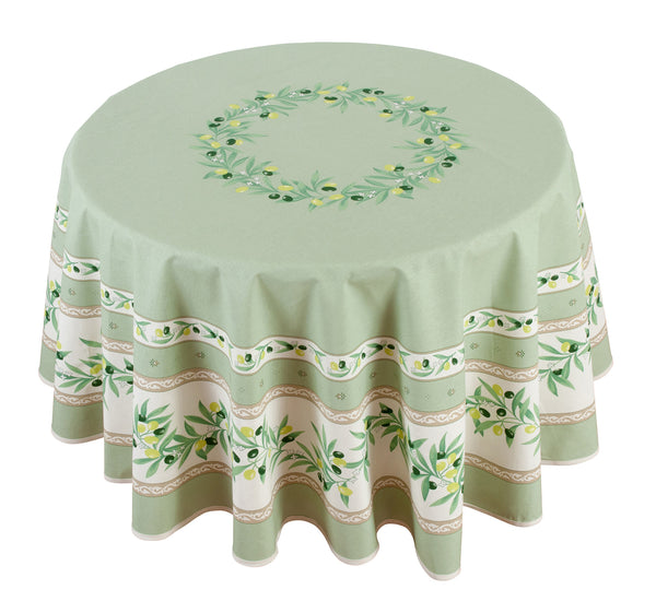 """Ramatuelle"" Round COATED Cotton Tablecloth"