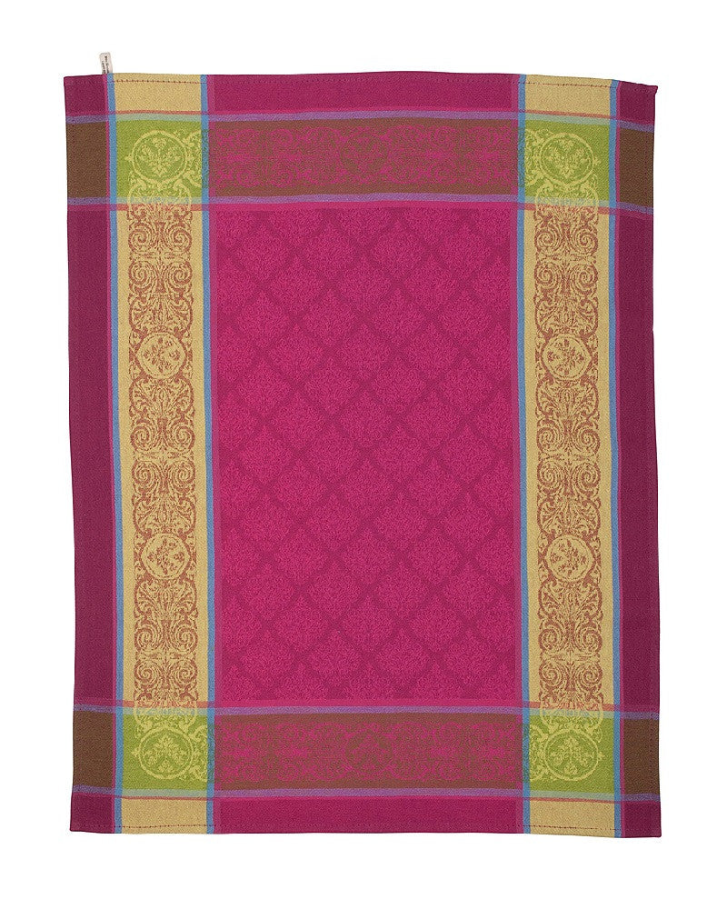 french linen jacquard tea towel with renaissance pattern in fuchsia