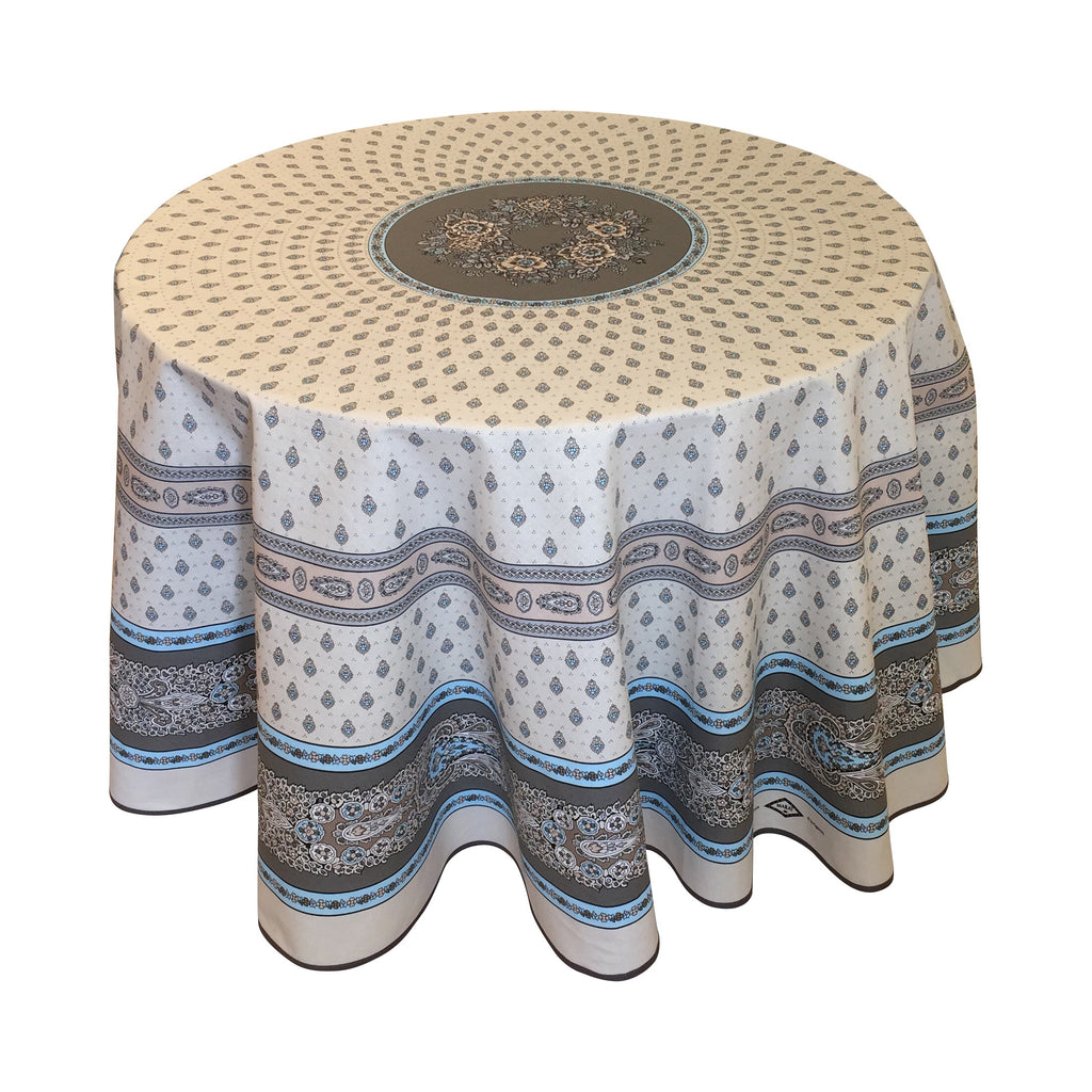 """Bastide Double Border"" Round COATED Cotton Tablecloth"