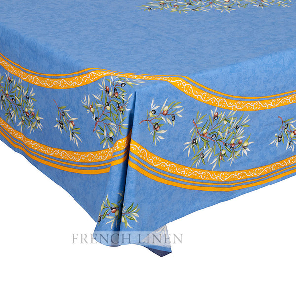 """Clos des Oliviers"" Rectangle Cotton Tablecloth (Placed Pattern)"