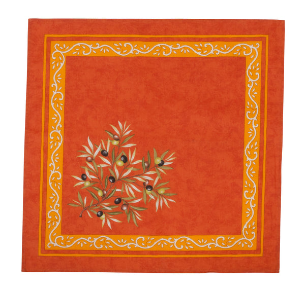 french linen cotton table napkin with olive motif in orange