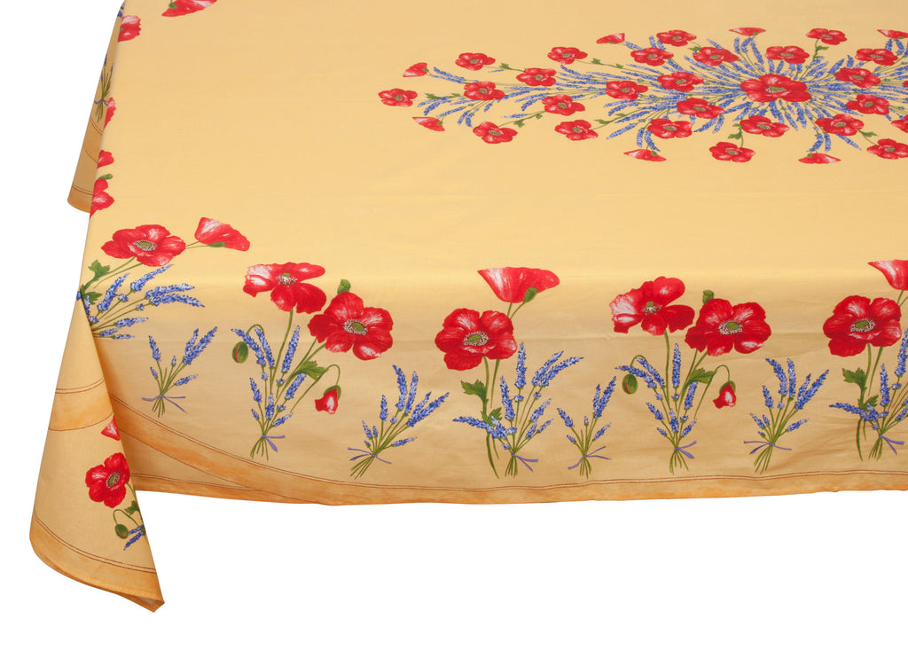 french linen rectangle tablecloth with poppy and lavender design in yellow