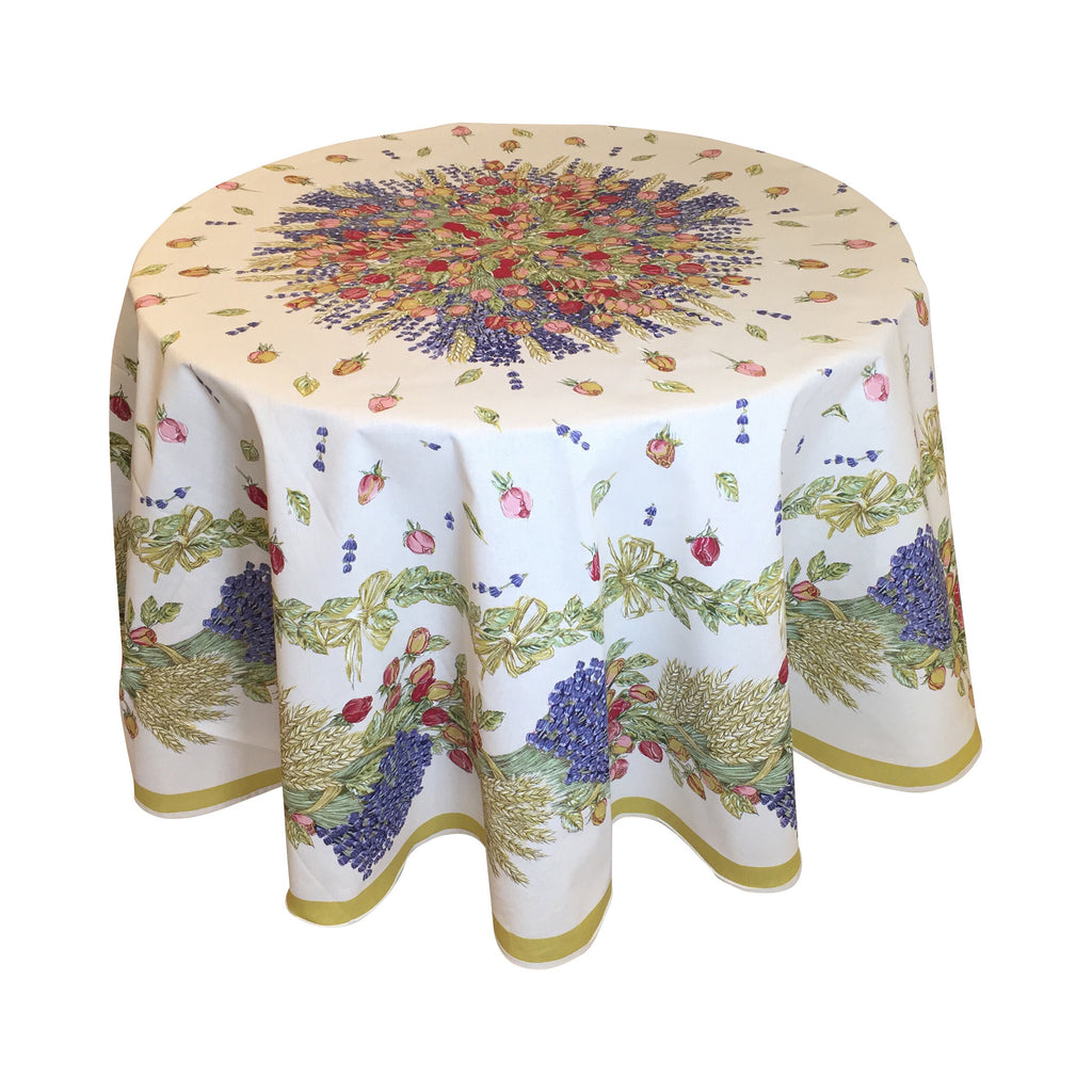 """Roses et Lavande"" Round COATED COTTON Tablecloth"