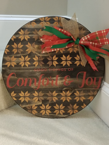 "Comfort & Joy (18"" round door hanger)"