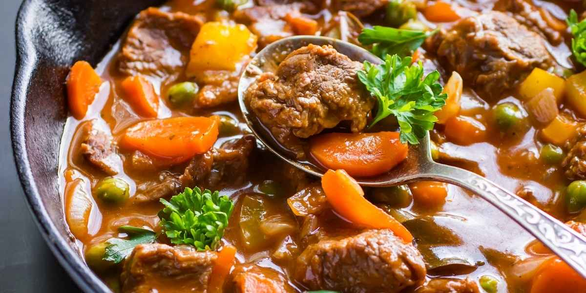 Beef stew in pot ready to eat.
