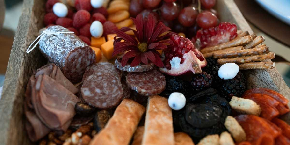 Close up of charcuterie board spread