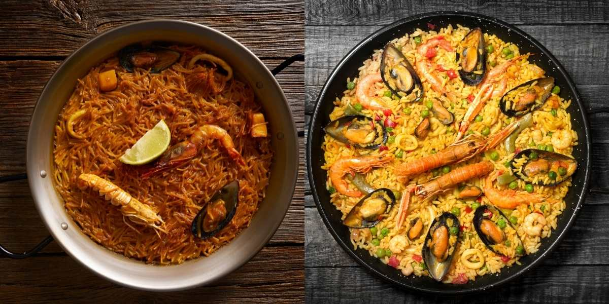 fideua and paella next to each cooked in paella pan carbon steel and enameled steel paella pan seafood recipes Spanish