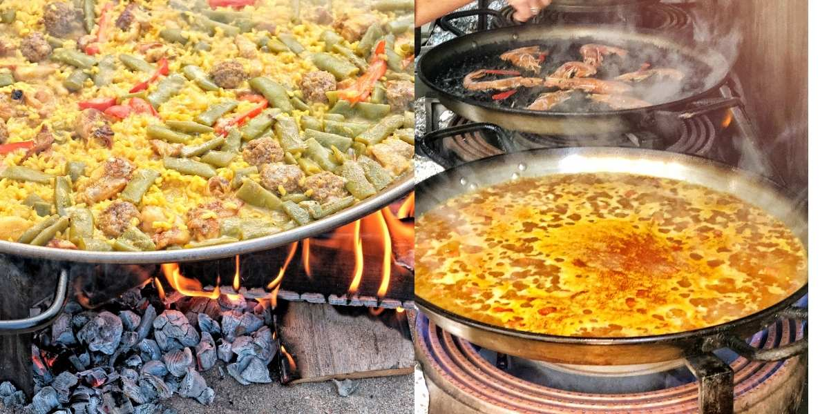 gas vs wood fired paella paella pans on gas stove and wood fire traditional spanish recipe machika