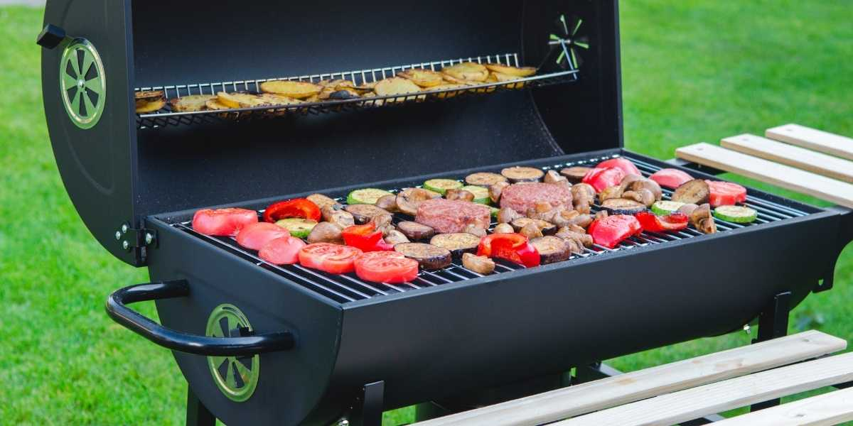grill full of vegetables and  beyond meat meatless alternative patties
