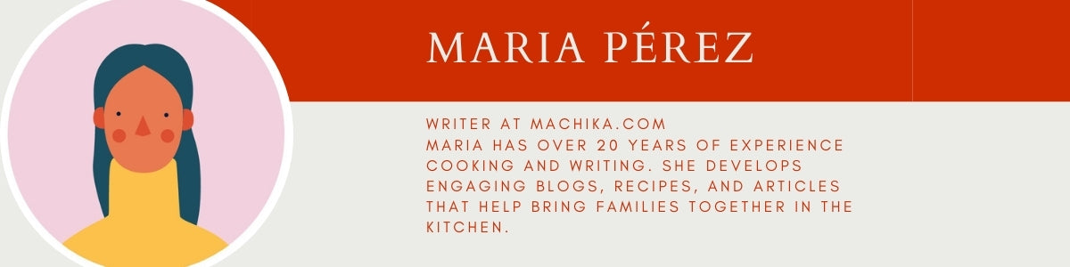 Author blurb for Maria Perez, Machika Kitchen blog writer.