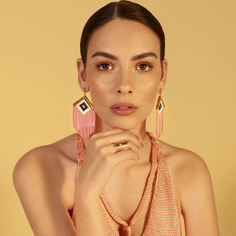 Rombo Embera Earrings Pink