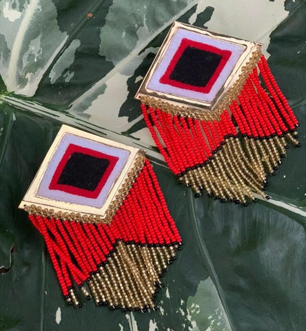 Kuna Embera Earrings Red