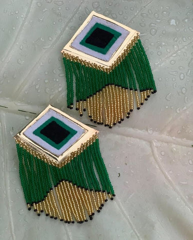 Kuna Embera Earrings Green