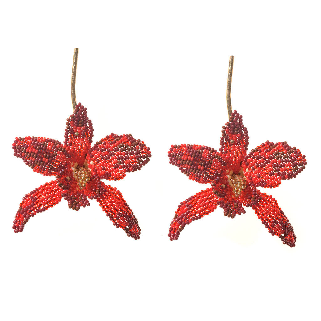 Orquídea Roja Earrings