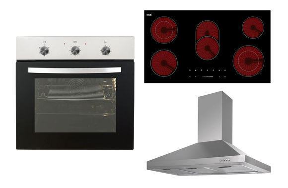 Entry Level 90cm Kitchen Package - Oven, Cooktop and Canopy Rangehood