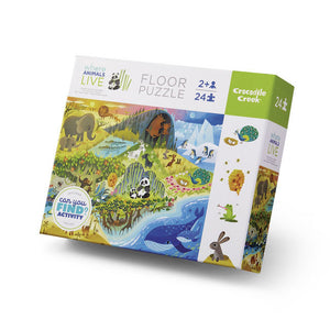 crocodile creek 24 piece early learning floor puzzle - where animals live