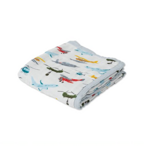 little unicorn deluxe muslin baby quilt - air show