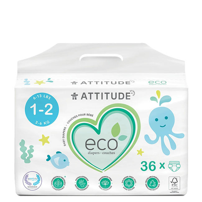 attitude biodegradable size 1-2 baby diapers 36pk