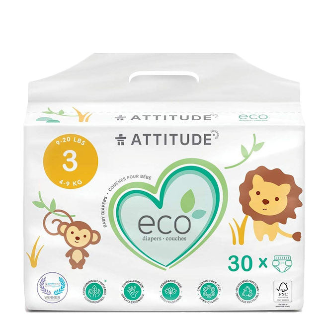 attitude biodegradable size 3 baby diapers 30pk
