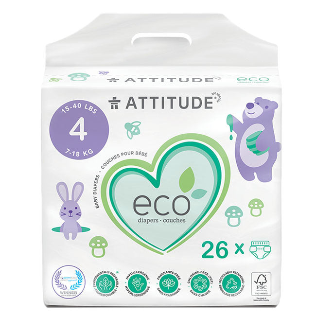 attitude biodegradable size 4 baby diapers 26pk