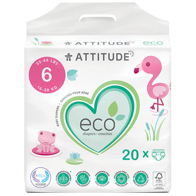 attitude biodegradable size 6 baby diapers 20pk