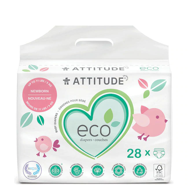 attitude biodegradable newborn baby diapers 28pk