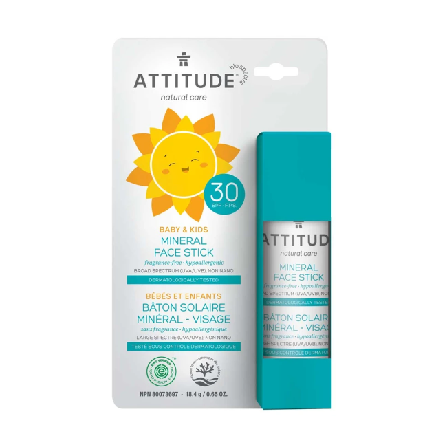 attitude SPF 30 baby + kids mineral sunscreen face stick - fragrance free 18.4 g