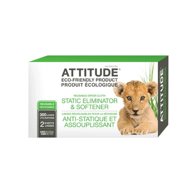 attitude static eliminator + softener reusable cloth dryer sheets 2 sheets/300 loads