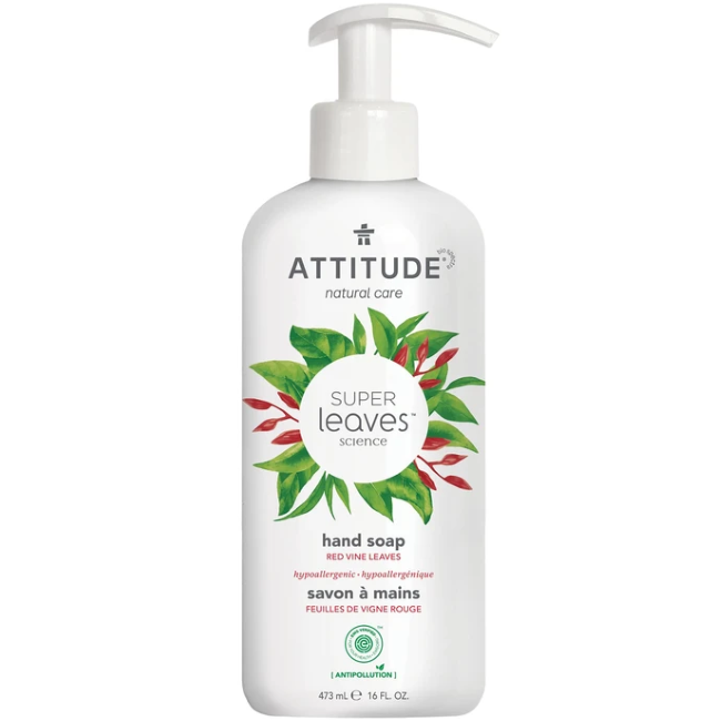 attitude super leaves natural liquid hand soap -  red vine leaves 473ml