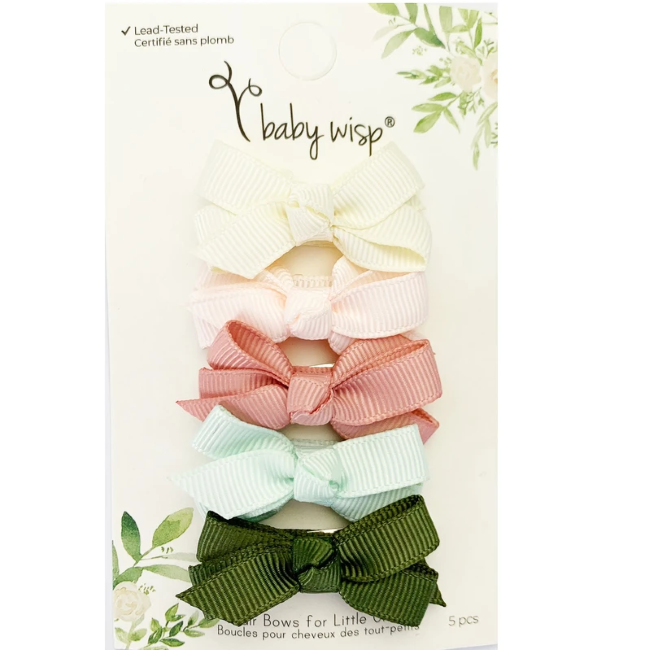 baby wisp chelsea boutique bow small snap 5pk - bouquet