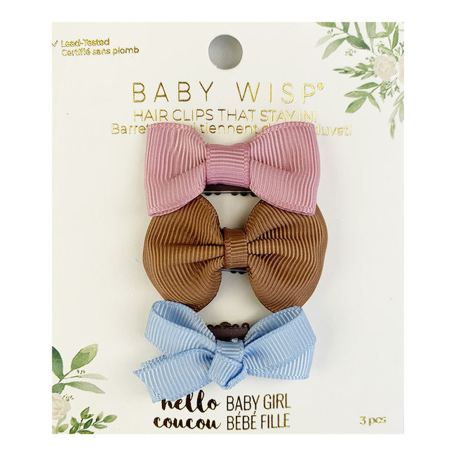 baby wisp rose/saddle/blue mini latch bows 3pk