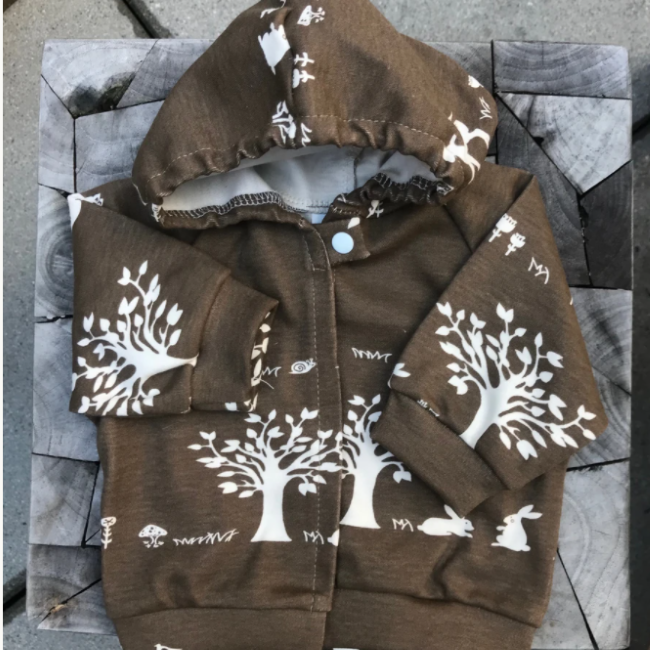 baby nesh organics organic cotton forest hoodie brown