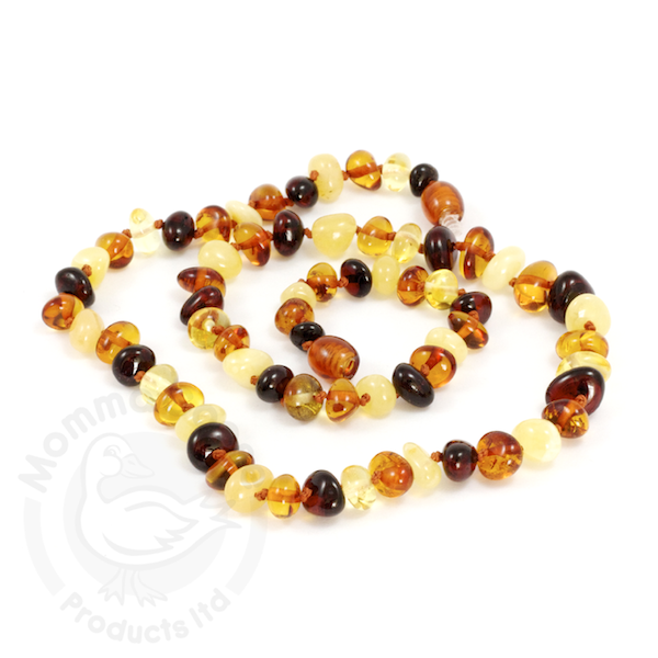 momma goose multi amber adult necklace 18""