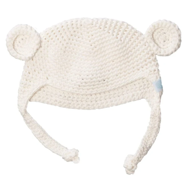 beba bean crochet bear toque in ivory