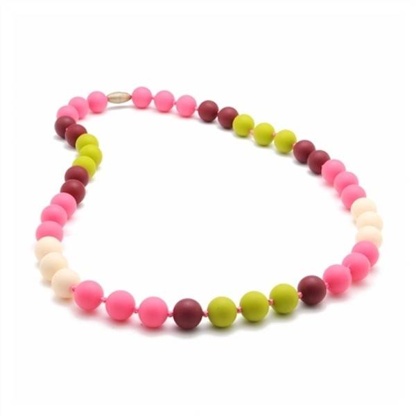 chewbeads bleecker silicone teething necklace punchy pink
