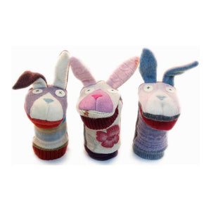 cate & levi wool animal puppet - bunny