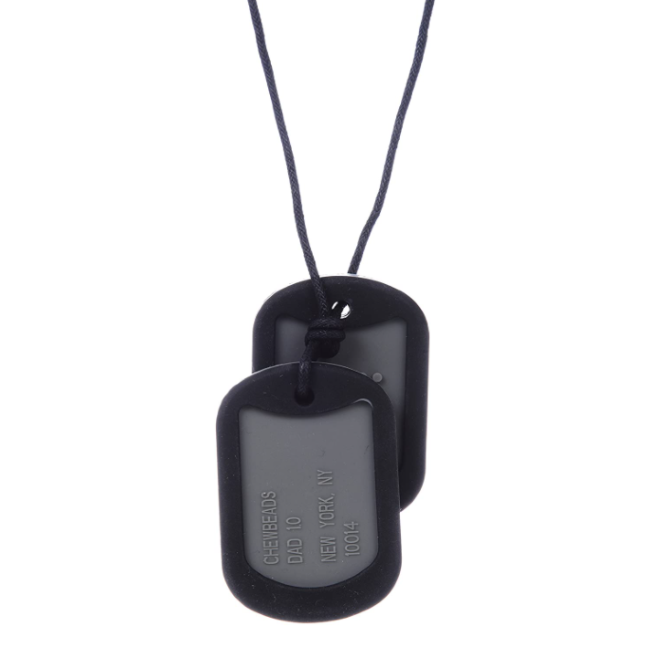 chewbeads dog tags silicone teething necklace - black
