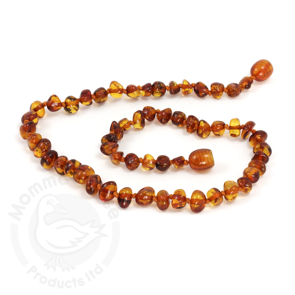 momma goose cognac amber adult necklace 18""