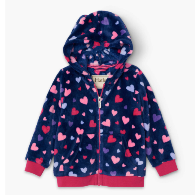 hatley confetti hearts fuzzy fleece hooded jacket