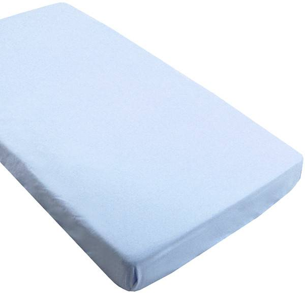 kushies baby flannel fitted crib sheet - blue