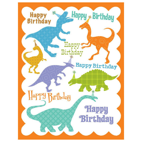 yellow bird paper greetings - dinos birthday glitter card