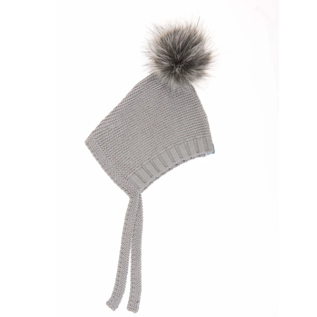 beba bean pom pom hat in grey