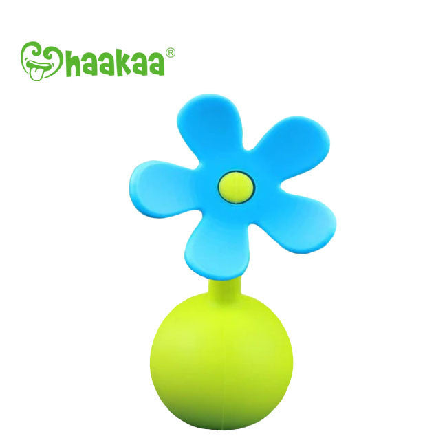 haakaa breast pump silicone flower stopper - blue