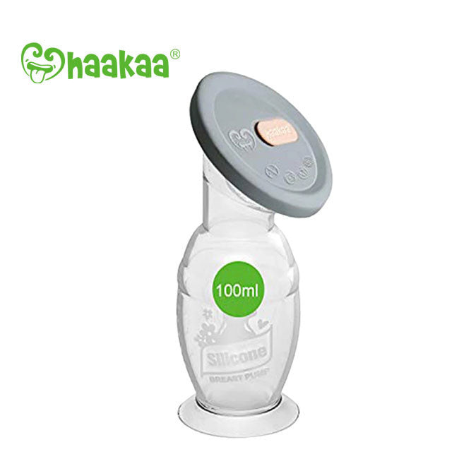 haakaa silicone manual breast pump with lid 100ml