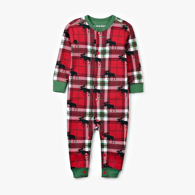 hatley moose on plaid baby union suit