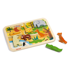 janod wooden chunky puzzle - zoo
