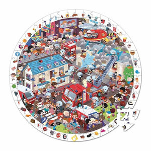 janod round observation puzzle with poster fireman 208 pieces