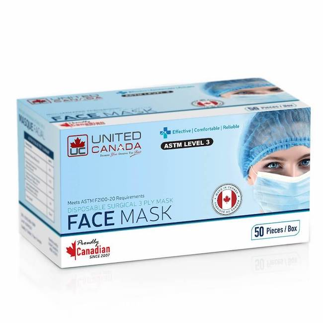 United Canada ASTM Level 3 Adult Medical Disposable Masks 50pc