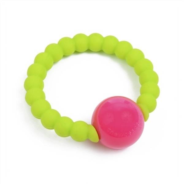 chewbeads baby mercer silicone rattle chartreuse